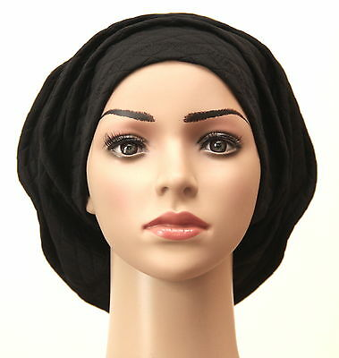 black  quilted jersey fabric lagenlook  hat  --also for chemo + other hair loss