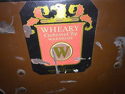 "Early 1900's ""Wheary Cushion Top dcWardrobe"" Steamship Wardrobe Travel Trunk"