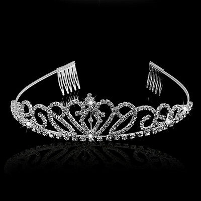 Bridal Rhinestone Tiara Hairband Crown with Small Comb Princess Queen Wedding