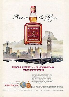 1955 House of Lords PRINT AD Scotch Whisky King's Ransom Bottle London Big Ben