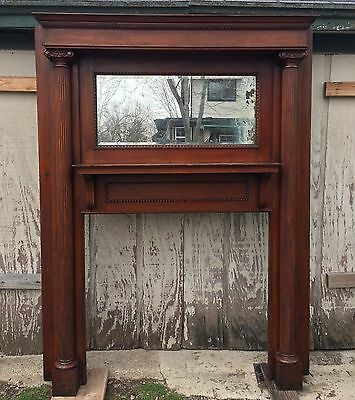 100% Original 1898 Antique Oak Fireplace Mantel With Mirror
