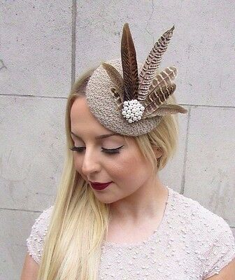 Beige Light Brown Ivory Pheasant Feather Pillbox Hat Fascinator Hair Clip 2602