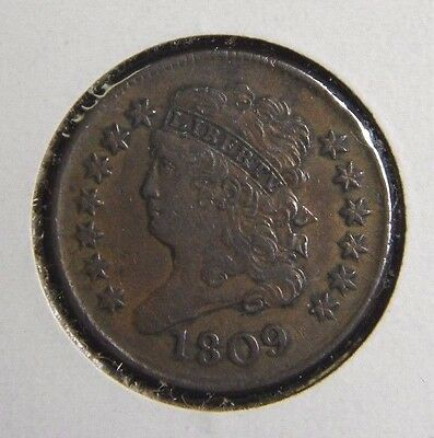 1809 Classic Head Half Cent**slight Die Rotation**extremely Fine Condition**ga