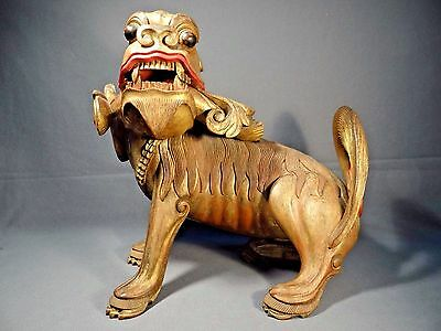 Late 18th/Early 19th Century Japanese Shishi Carved Wood Statue