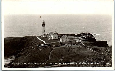 """Newport OR RPPC Postcard """"Cape Foulweather Light House Agate Beach"""" Andrews 1928"""