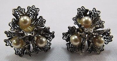 Antique Earrings Faux Pearl Sterling Silver Screw Back Lace Edwardian Filigree