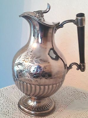 Vintage Silver Plated Floral Engraved Ewer Jug With Blank Shield Cartouche