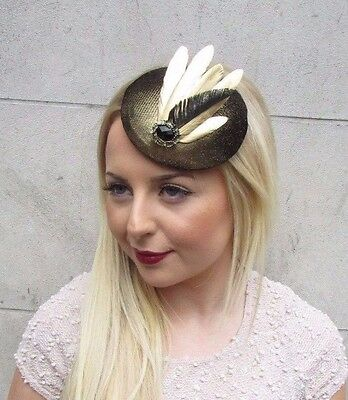 Black Gold Feather Pillbox Hat Fascinator Hair Clip Races Vintage Headpiece 2611