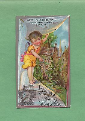Cute Young ANGEL, COTTAGE On HOUSEHOLD SEWING MACHINES Victorian Trade Card