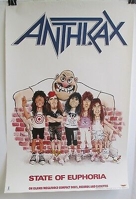 Original 1988 Anthrax State Of Euphoria Store Display Promo Poster 30""