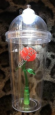 Disney Disneyland Parks Beauty & The Beast Light Up Rose Sipper Cup Tumbler NEW