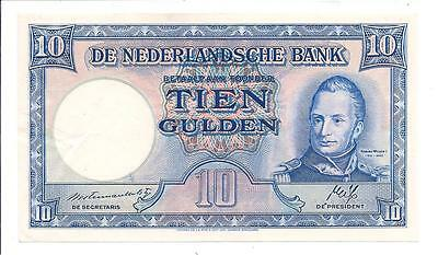 1945 Netherlands Nederland Holland  10 ( Ten ) Gulden Bank Note Biljet
