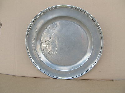 Antique Inscribed Pewter Charger Belgian 1814