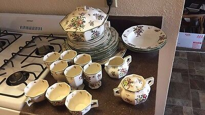 Vintage England Royal Doulton Porcelain Old Leeds Sprays Pattern D3548 Dishes