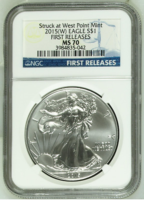 2015 - W Struck At West Point Mint Silver Eagle First Releases Mint State 70 Ngc