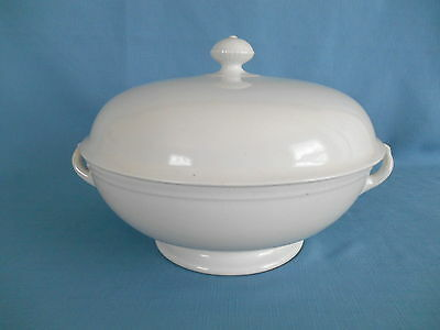 "1870 T.& R. Boote SENATE WHITE IRONSTONE LARGE 11"" HANDLED TUREEN COVERED BOWL"
