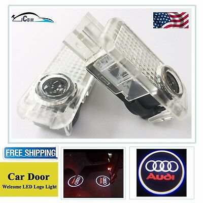2 x LED Car Door Courtesy Laser Projector Logo Shadow Light For Audi A6 A7 A8 Q5