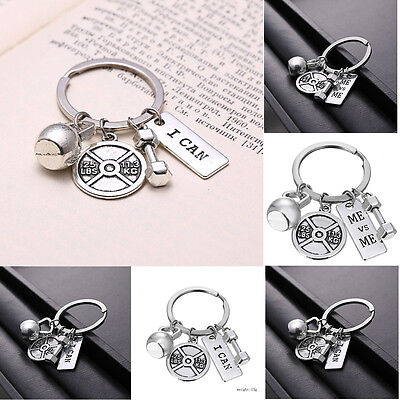 STRONG I Can DUMBBELL WEIGHT Fitness Weightlifting Gym CrossFit Keychain Keyring