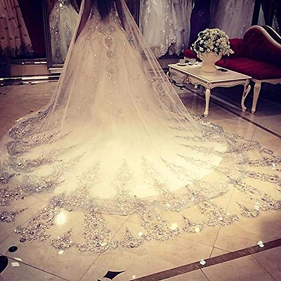 Leekida White Ivory Long Cathedral Crystal Wedding Veils with Free Comb
