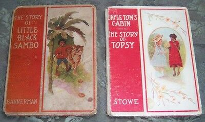 TWO RARE 1908 LITTLE BLACK SAMBO & STORY of TOPSY (Uncle Tom's Cabin) FIRST ED.