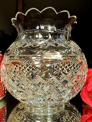 FAB Vintage LARGE HEAVY Footed Crystal Glass Rose Bowl Vase Bullseyes Diamonds