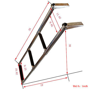 3-Step Boat ladder Stainless Steel Telescoping Ladder Upper Platform Standard