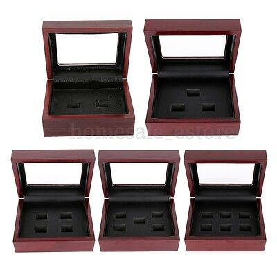Wooden Display Box for World Series Stanley Cup Championship Ring 2/3/4/5/6holes