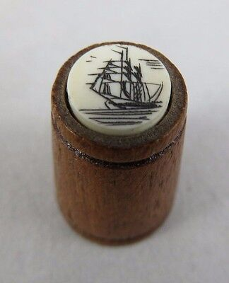 Vtg Thimble - Wood - Scrimshaw Top of Ship / Boat - Sewing