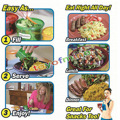 New 7Pcs/set Perfect Portions Food Storage Containers Easy Way Lose Weight Box