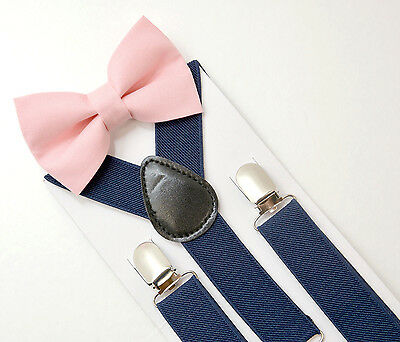 Kids Boys Mens Navy Blue Suspenders & Blush Pink Bow tie SET 6mon - ADULT