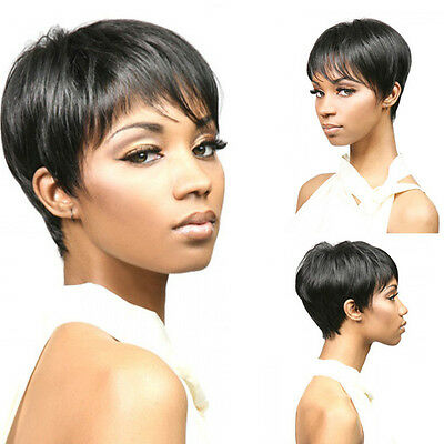 Human Hair Wigs New Pixie Cut Heat Resistant Short Straight Ombre Full Wig Bob