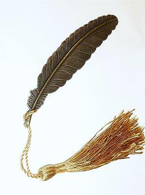 Bookmark - Large Feather With Gold Tassel - Bronze Plated With Antiqued Finish