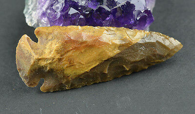 "Glossed 2.6"" Spearhead Point Flint Chert Knife Tool Blade Hunt Arrowhead B1432"