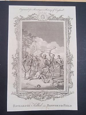 ANTIQUE BATTLE OF AGINCOURT old vintage retro print 18th century