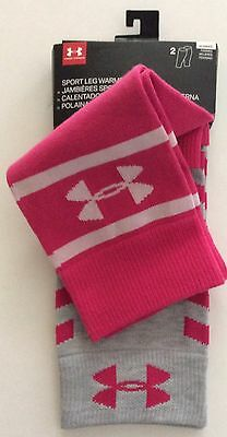 UNDER ARMOUR Women's Sport Leg Warmers 2 Pair Pink Gray NEW NWT