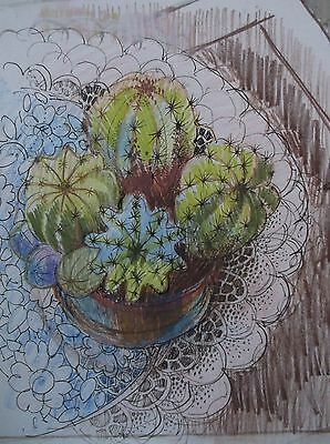 COLOURED GRAPHITE DRAWING by FREDERICK GEORGE WILLS 1901-1993 R.I. CACTUS