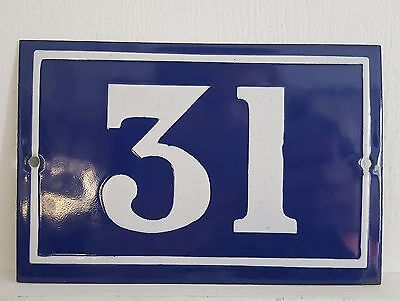 OLD FRENCH HOUSE NUMBER SIGN door gate PLATE PLAQUE Enamel steel metal 31 Blue