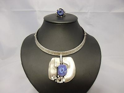 Handarbeit Collier + Ring / Set Silber 835 punziert &  Pyrit in blau Dansk Style
