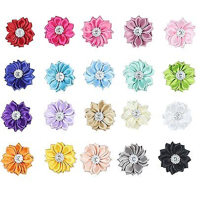 20 PCS Baby Girl Chiffon Flowers Lined Hair Bows Clips for Teens Girls Babies