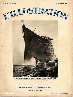 1932 NORMANDIE l'Illustration Launch Issue w/ Photos - NAUTIQUES sHiPs WORLDWIDE