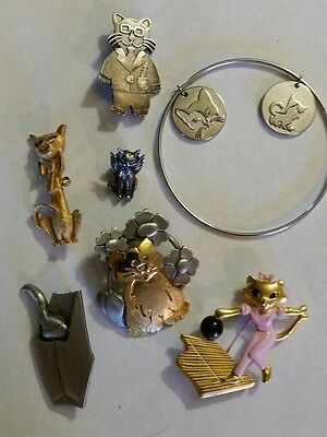 lot of 6 cat pins one cat bracelet