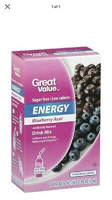 6 Boxes Great Value Blueberry Acai Energy On The Go ~ Drink Mix Water Enhancer