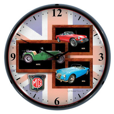 MG Vintage British Roadsters Light Up Garage Clock 14 x 14