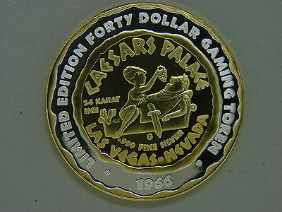 1966  $40 Caesars Palace Gaming Token, Winged Victory, Limited Edition .999 Fine