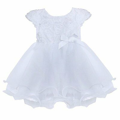FEESHOW Infant Baby Girls Organza Layered Baptism Dress White 0-3 Months