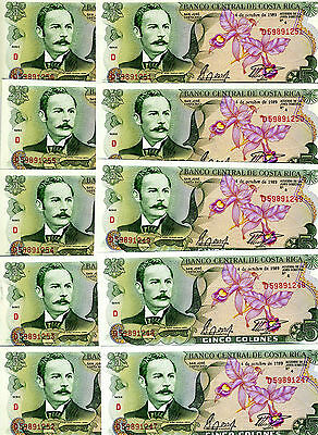 LOT Costa Rica, 10 x 5 Colones, 1989, P-236d, UNC -  colorful