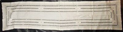 "[KM08] Lovely Antique Embroidered White Work Pulled Thread Table Runner 18""x72"""