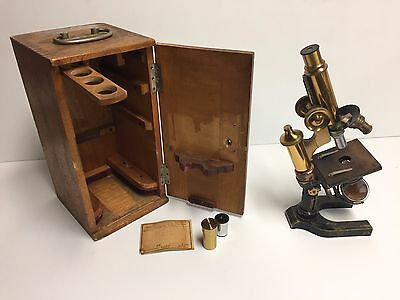 Nice antique (1905) E. Leitz Wetzler brass tube microscope w/ original box