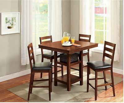 DINING TABLE SET For 4 High Top Table Chair Small Kitchen 5 ...