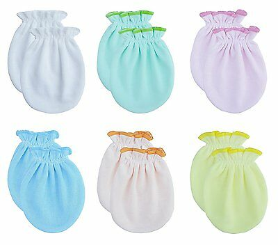 Songbai Newborn Baby Gloves,Scratch Mittens Cottonone size, 6 Pairs/assorted